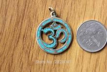 PN481 Tibetan Round Semi-precious Stone Mantra Om Amulet Charm Handmade Nepal Tribal Brass Buddhism Mantra 27mm Pendant