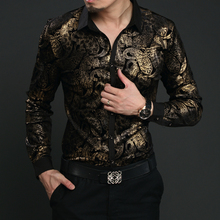 Free shipping new 2016 Men's Fashion Floral stitching shirt high quality casual long-sleeve shirt Local tyrants gold S-3XL Dress