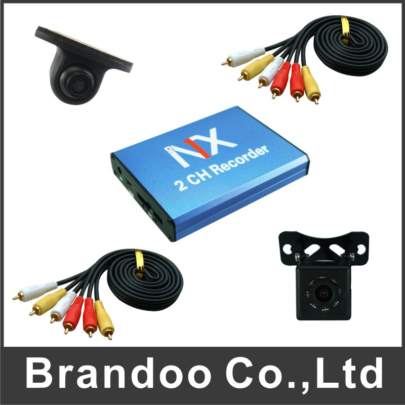 2 channel CAR DVR kit, including car cameras and video cable.auto recording TAXI DVR kit 2ch car dvr kit including 1pcs 2ch car dvr 2 car cameras 2 video cables diy installation dvr kit