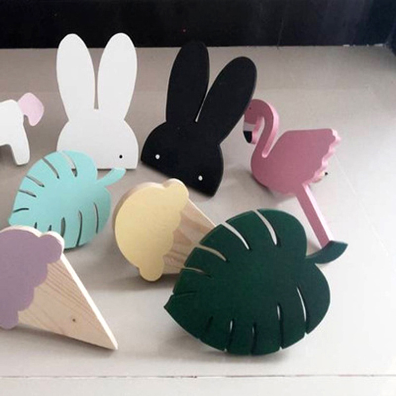 Nordic Kids Room Decorative Wall Hanging Clothing Hooks Wood Rabbit Cactus Children Wall Sticker ice cream Hanger Clothes Hook