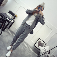 Ailegogo Autumn Winter Knitted Blouses Pants Two Piece Set Women Zipper Tops Pocket Pants Suits Casual Outwear Sets
