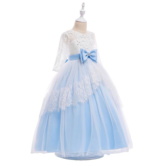 תחרה אלגנטית נסיכת פרח בנות שמלה עם גדול ארוך קשת קריסטל קשת רשמיות נערה מפלגה לנשף שמלת 2019