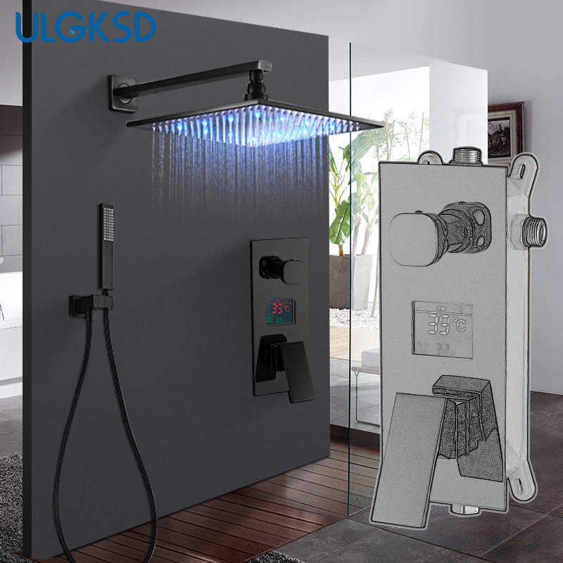 ULGKSD Bathroom Shower Faucet 2-Ways Function W/ Tub Faucets Para Bath Ducha LED Digital Cold and Hot Mixer Tap