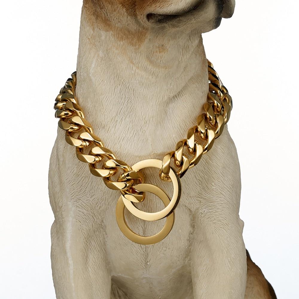 Dog Chain Collar Gold...