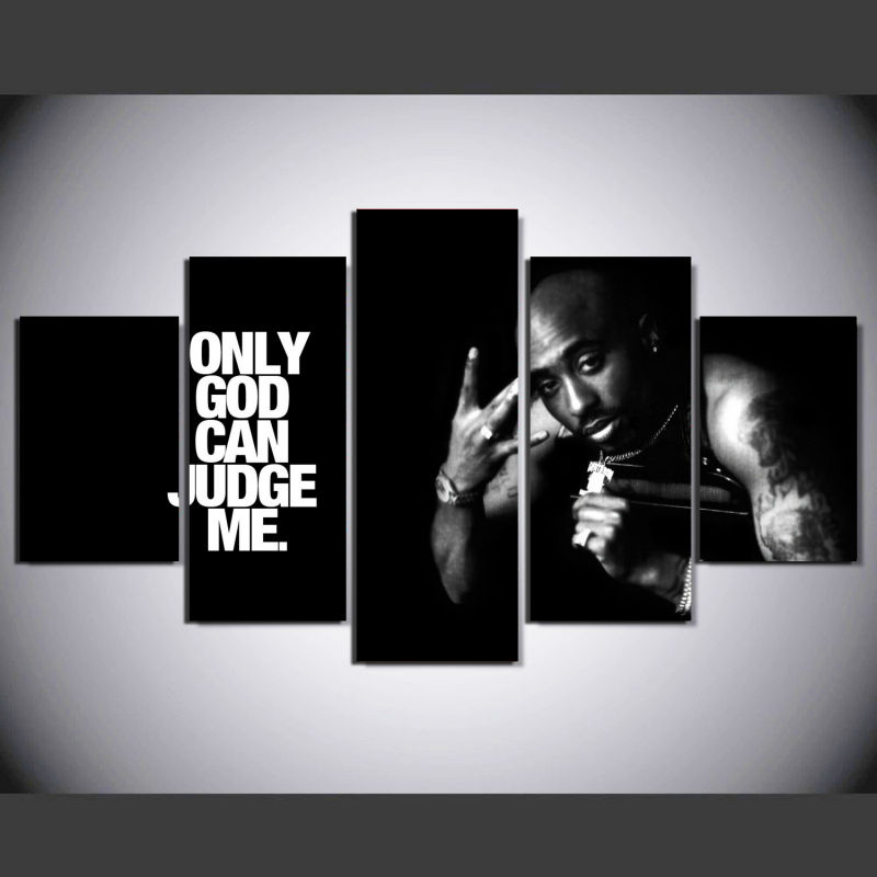 5 Pieces 2Pac Makaveli Tupac Amaru Shakur Modern Home Wall Decor Canvas Picture Art HD Print Painting On Canvas For Living Room
