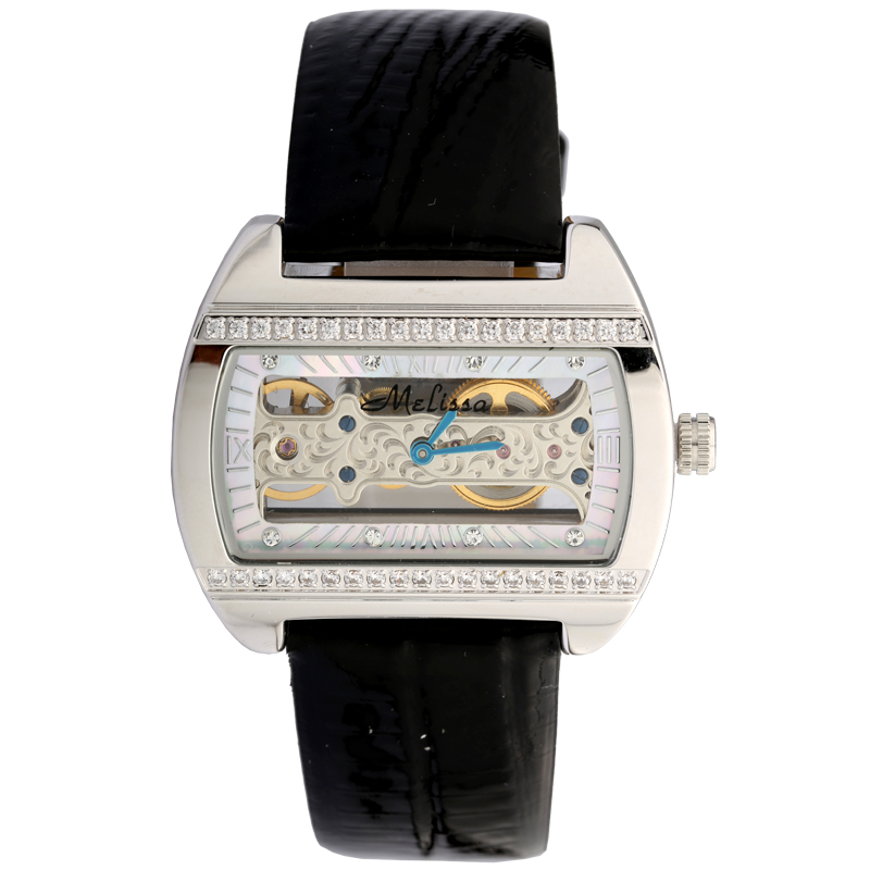 купить Vintage Tonneau Women Automatic Watches MELISSA Unisex Real Leather Wrist watch Self Winding Skeleton Relogios Montre femme M127 по цене 6298.61 рублей