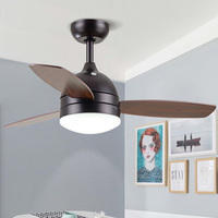 Nordic home style wooden Ceiling Fans Modern Macaroon LED lights Parlor dinning room bedroom Ceiling Fans with remote control