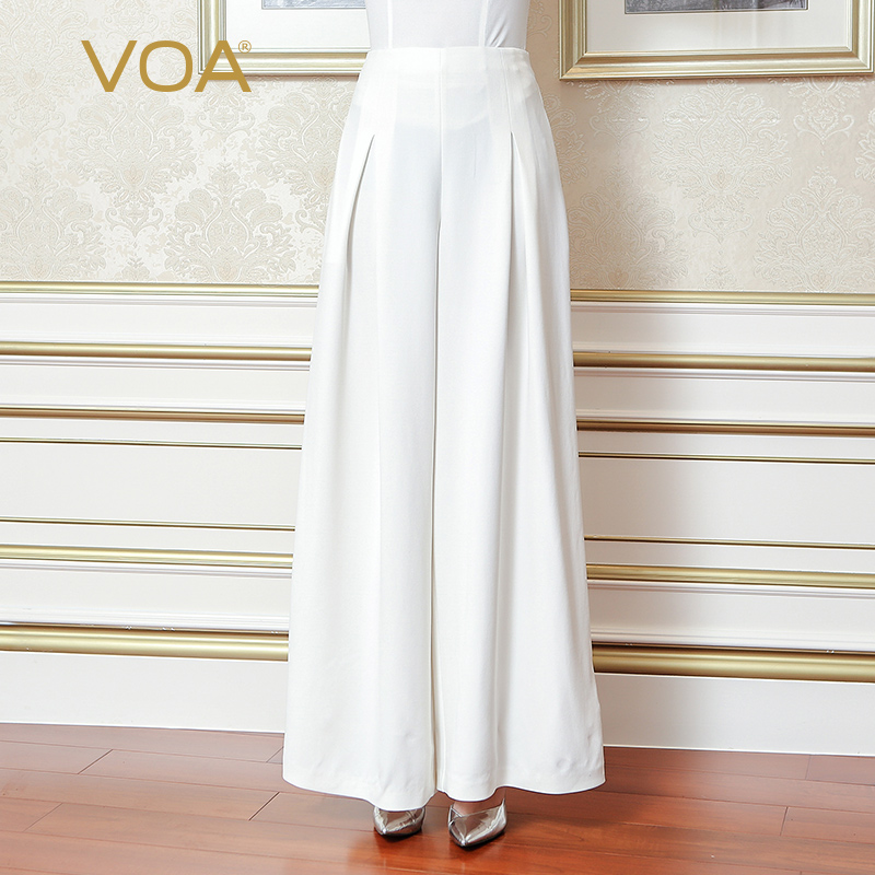 VOA 2017 Fall Fashion Pure White Plus Size Loose Brief Women Wide Leg Pants Heavy Silk Business Office Casual Pants KLH03801