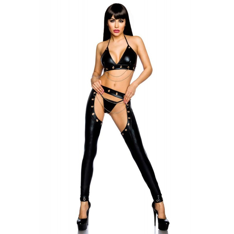 XXL Porn Sex Underwear Women Erotic Lingerie Sexy Leather Latex Top + Pants+ T-Pants Hot Pole Dance Club Sexy Babydoll Costumes image