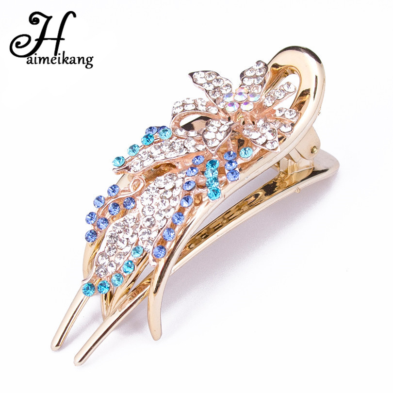 Haimeikang 1PC Bridal Wedding Flower Rhinestone Hair Clip Hair Accessories Women Sunflower Alloy Hairpin Claw Gum Hairwear halloween party zombie skull skeleton hand bone claw hairpin punk hair clip for women girl hair accessories headwear 1 pcs