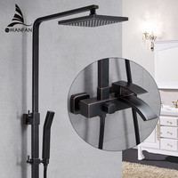 Fashion Style Black Shower Faucet Cold And Hot Water Mixer Single Handle Adjustable Rain Shower Bar