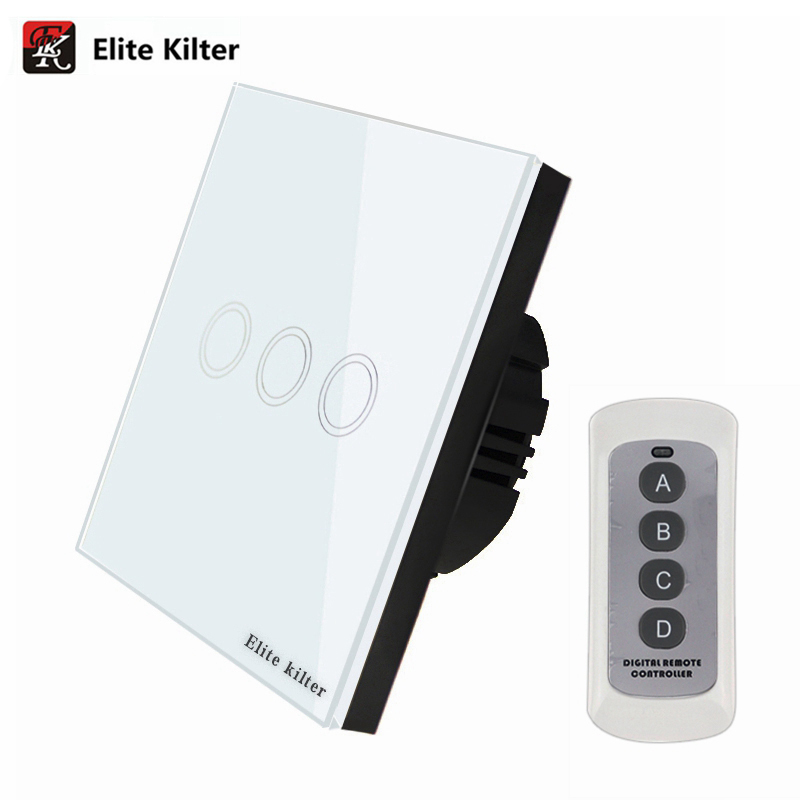 Elite Kilter  3 Gang 1 Way EU/UK Standard Touch Switch Remote Control Luxury Glass Wall Switch Panel Light Switch AC 170V~240V remote control wall switch us standard remote touch switch black crystal glass panel 3 gang 1 way with led indicator