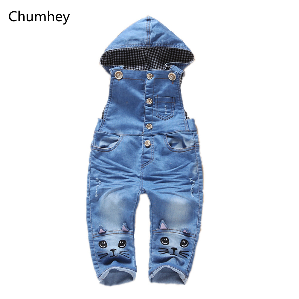 Baby Rompers Spring Boys Girls Jeans Overalls Cute Cat Hooded Long Pants Bib Jumpsuit Kids Clothing Children Suspender Clothes spring baby boys girls clothing winter baby hooded rompers cotton padded kids warm overalls climb clothes for newborn babies