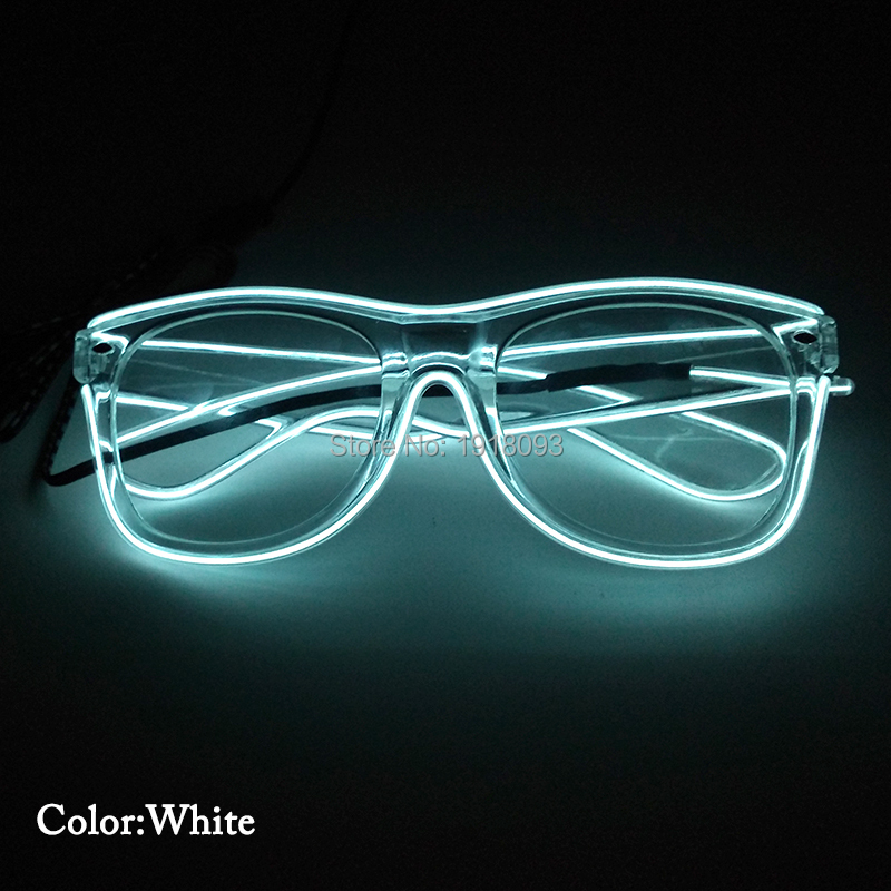 10Colors Available 20pieces EL Wire Glowing Glasses with Steady on Driver For Carnival Decoration Novelty Lighting high quality wholesale 100m lot 2 3mm el wire with 10 colors for option free shipping