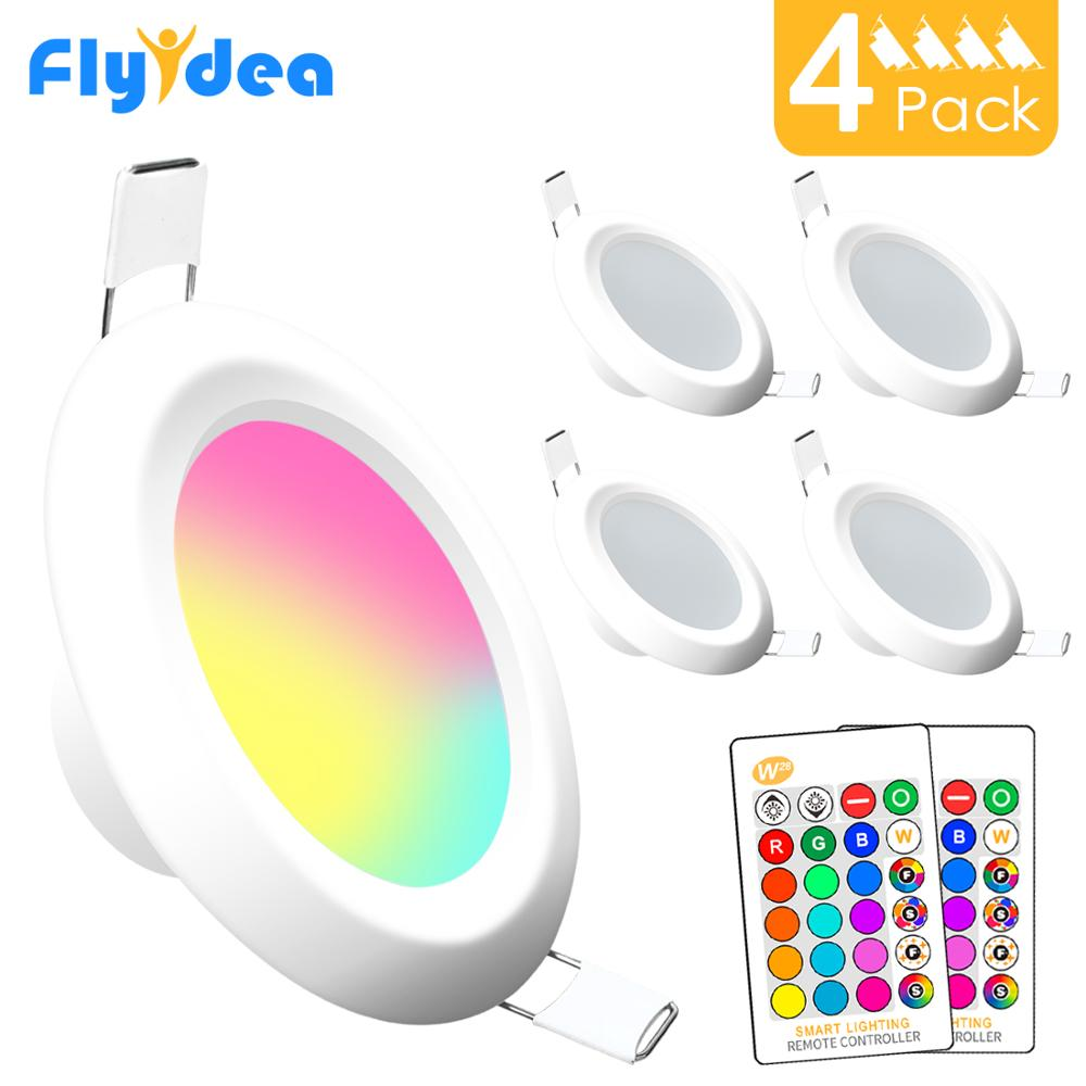 4pcs LED Downlight Round Dimmable 7W RGBW LED Kids Ceiling Recessed Spot Light Infrared Controller Color Changing AC 110V/220V