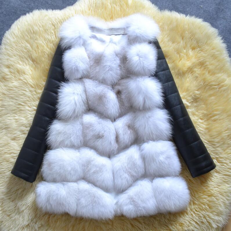 UPPIN шуба Новые Большие размеры меховое пальто с рукавами из искусственной кожи женская зимняя куртка из искусственного меха лисы Женская Осенняя модная теплая верхняя одежда пальто шуба из искусственного меха шубы - Цвет: white fur black tip