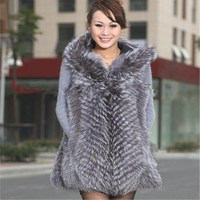 2018 new long silver fox silver fox fur vest fox fur coat factory direct wholesale leather vest plus free shipping