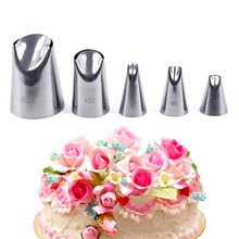 5pcs/set Petal Stainless Steel Icing Piping Nozzle Set Metal Cream Tips Cake Decorating Pastry Tools Desser Decorators Tool