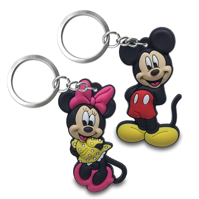 2PCS PVC Keychain Cartoon Mickey Minnie Anime Figure Key Ring Kid Toy Key Chain Key Holder Fashion Trinket Gift Bags Decor