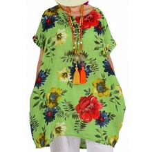 5XL 2019 Summer Women Plus Size Blouses Short Sleeve Printed Loose O-Neck Long Shirts