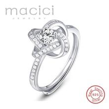 100% Sólido 925 Anillo de Plata Esterlina Pavimenta El Ajuste Completo Diamante de LA CZ Hermosos Anillos De Tamaño Ajustable