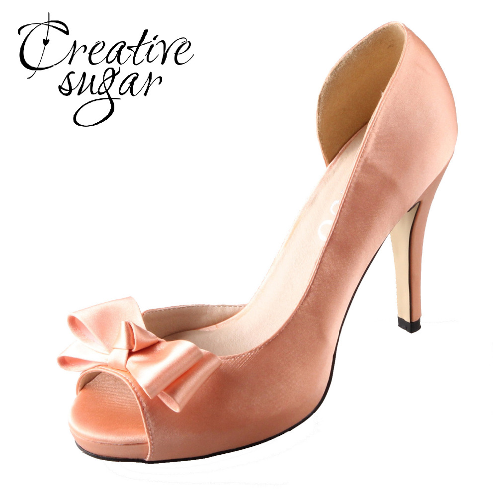 Creativesugar Handmade watercolor theme peachy nude satin D'orsay bow blush heel wedding pumps light coral bridal dress shoes 2017 fashion women pumps casual shoes pointed toe low heels mules double strap slip on slippers button leisure shoes