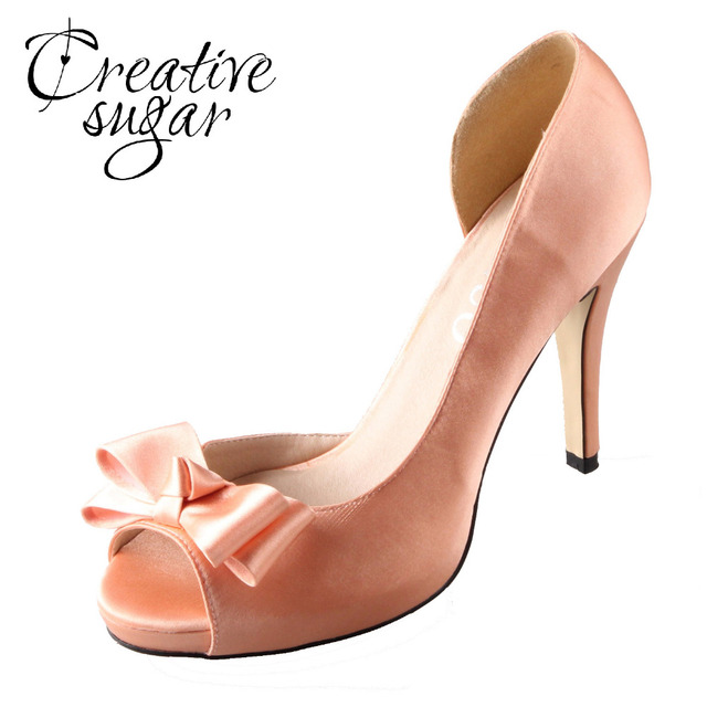 Creativesugar Handmade watercolor theme peachy nude satin D'orsay bow blush heel wedding pumps light coral bridal dress shoes