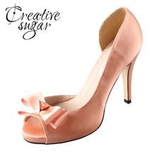 Creativesugar Handmade Watercolor Theme Peachy Nude Satin Dorsay Bow Blush Heel Wedding Pumps Light Coral Bridal Dress Shoes