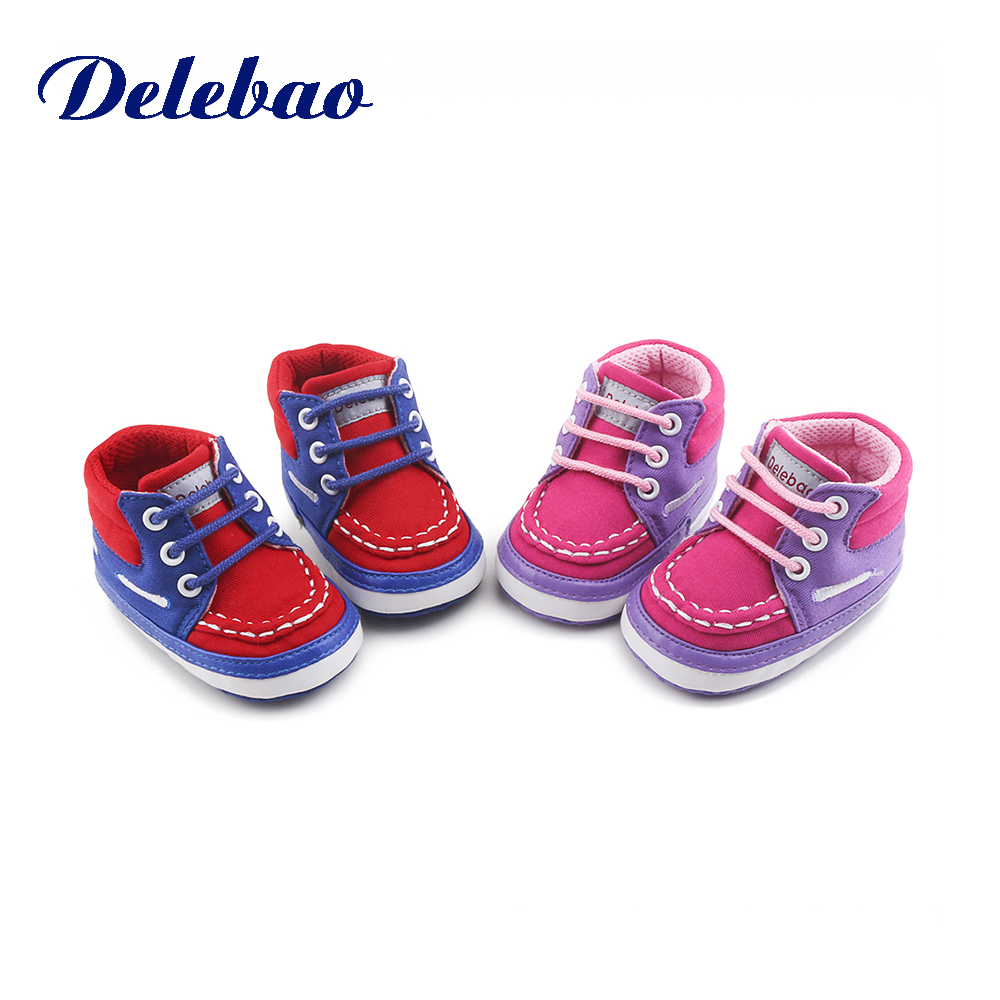 Купить с кэшбэком Delebao Autumn Spring Frosted Texture Soft Bottom Toddler Shoes By Hand Baby Shoes Cotton Shoes Keep Warm Lace Up First Walkers