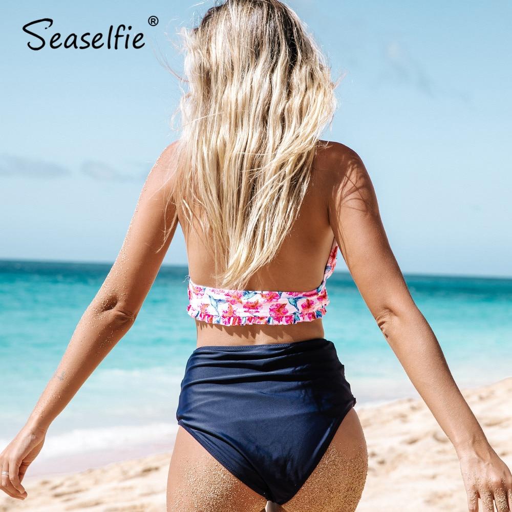 SEASELFIE Bird Floral Print High waist V neck Bikini Sets 2020 Women Sexy Beach Summer Ruched Halter Two Pieces Swimsuits 1