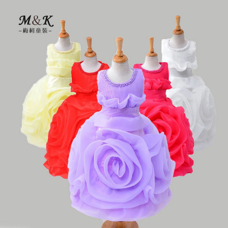 3 8 Years Old Big Flower Beading Girls Dress Summer New Style High Quality Exaggerate Part
