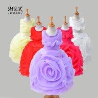 3-8 Ans Grande Fleur Perles Filles Robe D'été Nouveau Style Haute Qualité Exagérer Partie De Mariage Enfants princesse robes