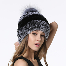 IANLAN Fashion Women Real Fur Pompom Hats Winter Rex Rabbit Beanies with Silver Fox Ball Ladies Striped Caps IL00049
