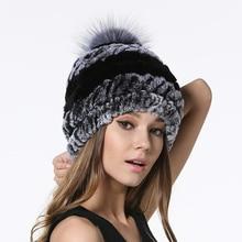 IANLAN Fashion Women Real Fur Pompom Hats Winter Rex Rabbit Beanies with Silver Fox Ball Ladies Striped Caps IL00049
