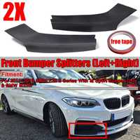 New 2pcs Black Car Front Bumper Splitter Diffuser Spoiler Lip Body Kit Fits For BMW M235i Coupe 2Dr F22 M Tech M Sport 2014 2019