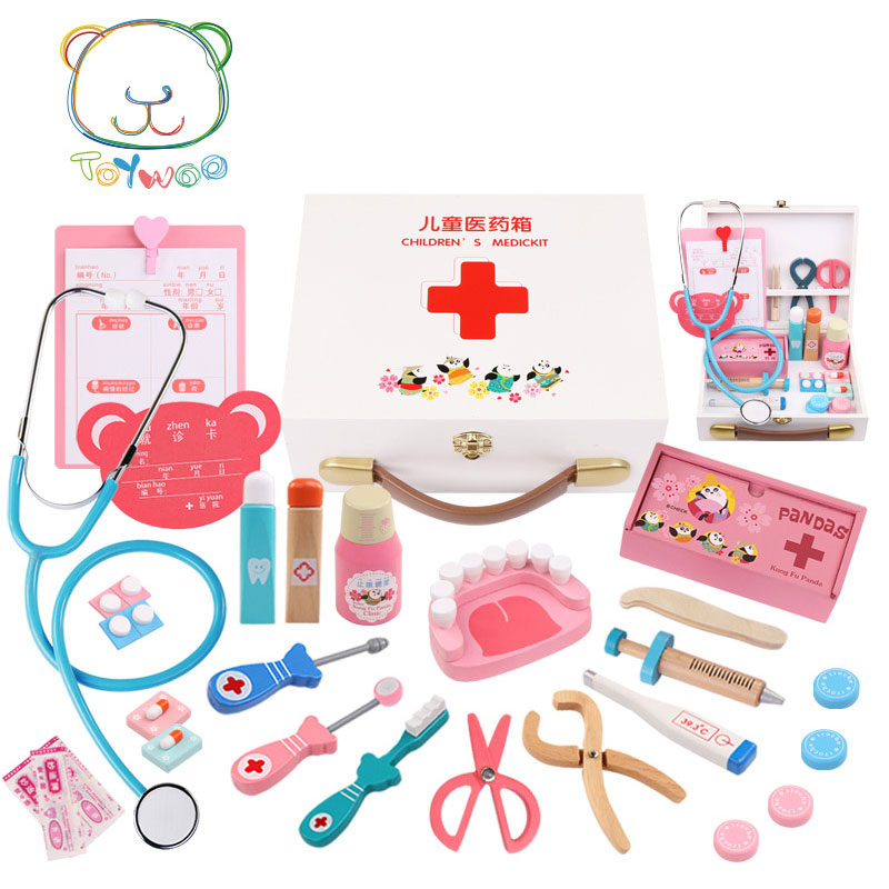 [Toy Woo] Wooden Kids Funny Toys Doctor Play Sets Simulation Medicine Box Pretent Doctor Toys Children Gifts Educational Toys pretend and play doctor set little doctor kids baby toddler children junior doctor nurses medical set kit role play toy