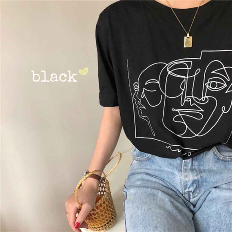 2 Colors Summer Women Tops 2019 Korean Stle Cartoon Print Short Sleeve T-shirts Womens Tee Shirt Femme (B8610)