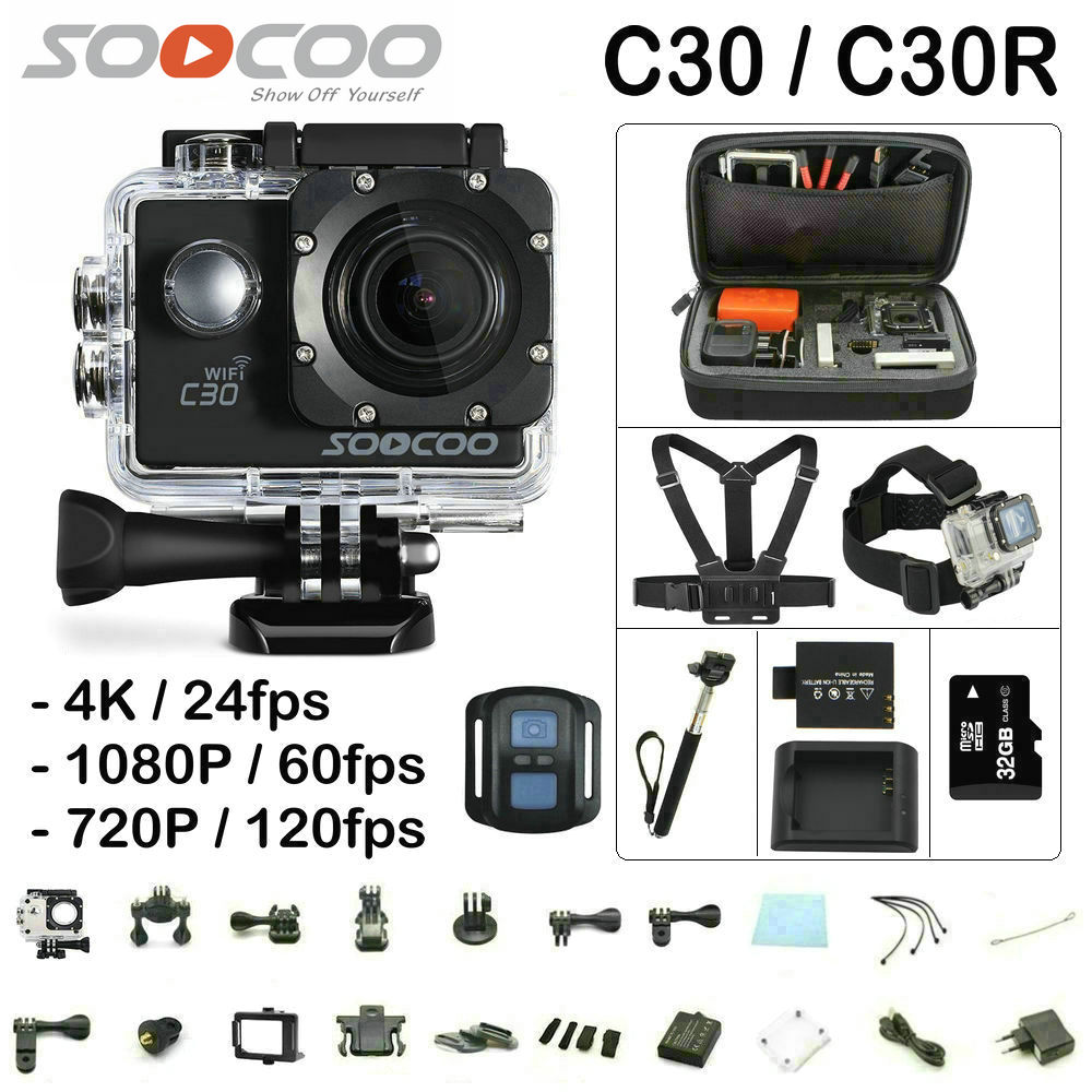 SOOCOO C30 / C30R Action Camera 4K Gyro Wifi Adjustable Viewing angle 170 Degrees 2.0 LCD NTK96660 30M go Waterproof pro Camera soocoo c30 sports action camera wifi 4k gyro 2 0 lcd ntk96660 30m waterproof adjustable viewing angles