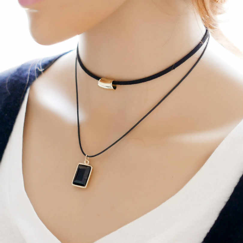 Fashion New Korean Ladies Double Simple Necklace Box Modeling Fine Necklace Statement Necklace Long  Women