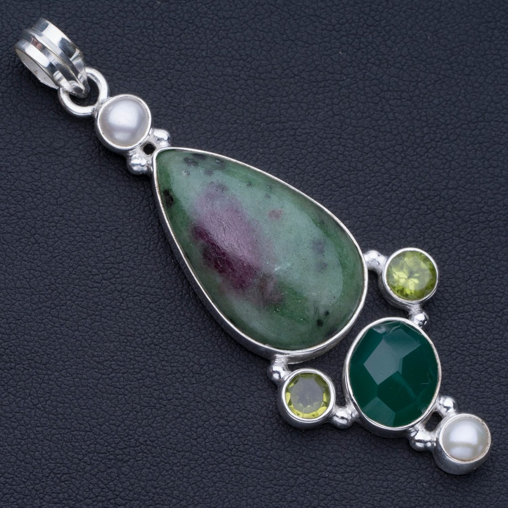 Natural Ruby Zoisite,Chrysoprase,Peridot and River Pearl 925 Sterling Silver Pendant 2 1/2 P0767Natural Ruby Zoisite,Chrysoprase,Peridot and River Pearl 925 Sterling Silver Pendant 2 1/2 P0767