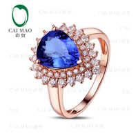 CaiMao 18KT/750 Rose Gold 2.55 ct Natural IF Blue Tanzanite AAA 0.63 ct Full Cut Diamond Engagement Gemstone Ring Jewelry