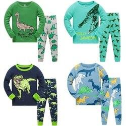 Crianças Manga Longa Pijamas Define Novo 2020 Primavera Outono Menina Pinguins Meninos Dinossauros Pijamas Animal 3 4 5 6 7 8 Anos Pjs Roupas