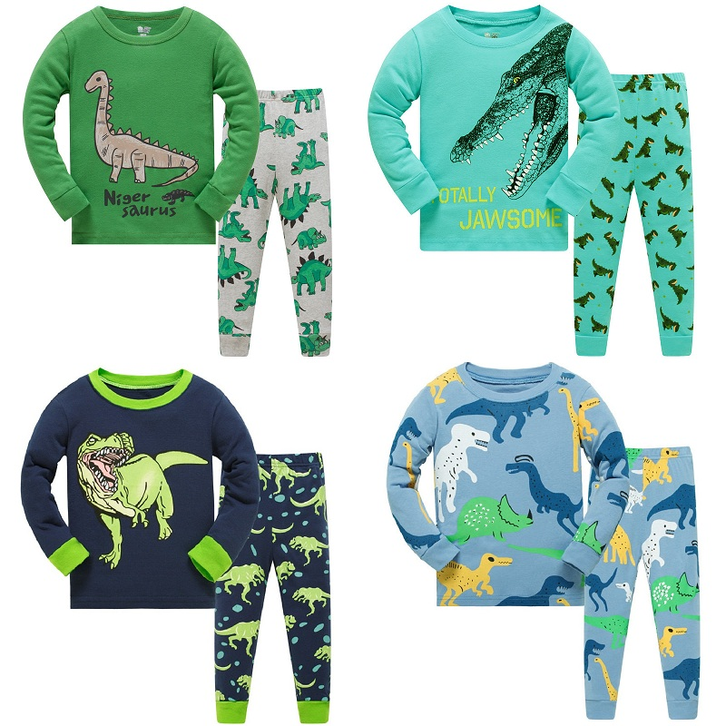 Kids Long Sleeve   Pajamas     Sets   New 2019 Spring Autumn Girl Penguins Boys Dinosaurs Sleepwear Animal 3 4 5 6 7 8 Years Pjs Clothes