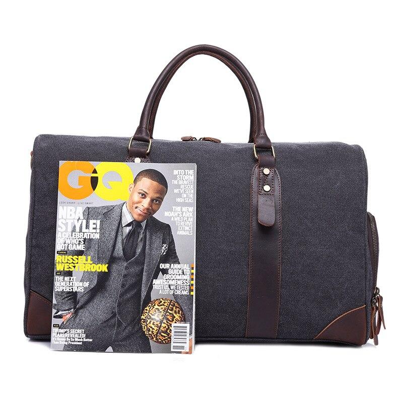 Travel Bags Canvas Large capacity Retro Handbag Travel Bag Wearable +Waterproof Travel Bag - 3