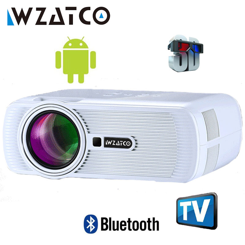 WZATCO 2200lm Android WIFI Portatile Pico mini HDMI HA CONDOTTO il Proiettore Tascabile Home Cinema Proyector Beamer supporto full HD 1080 p 4 k
