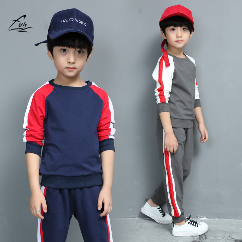 FYH Kids Clothing Set School Children Autumn Spring Suit Set Boys Casual Tracksuit Patchwork Boys Long Sleeve Sweatshirt+Pants fyh boys long sleeve sports set school boys casual printed suit hooded sweatshirt pants kids autumn clothes children tracksuit