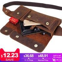 2018 New Vintage Genuine Leather Men Waist Pack Casual Multi functions Fanny Pack Belt Bag Male Travel Phone Pouch Shoulder Bag