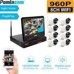 8CH 960P system kamer do monitoringu domu wodoodporna na zewnątrz Night Vision kamera IP WiFi 10 Cal Monitor bezprzewodowy zestawy NVR WiFi