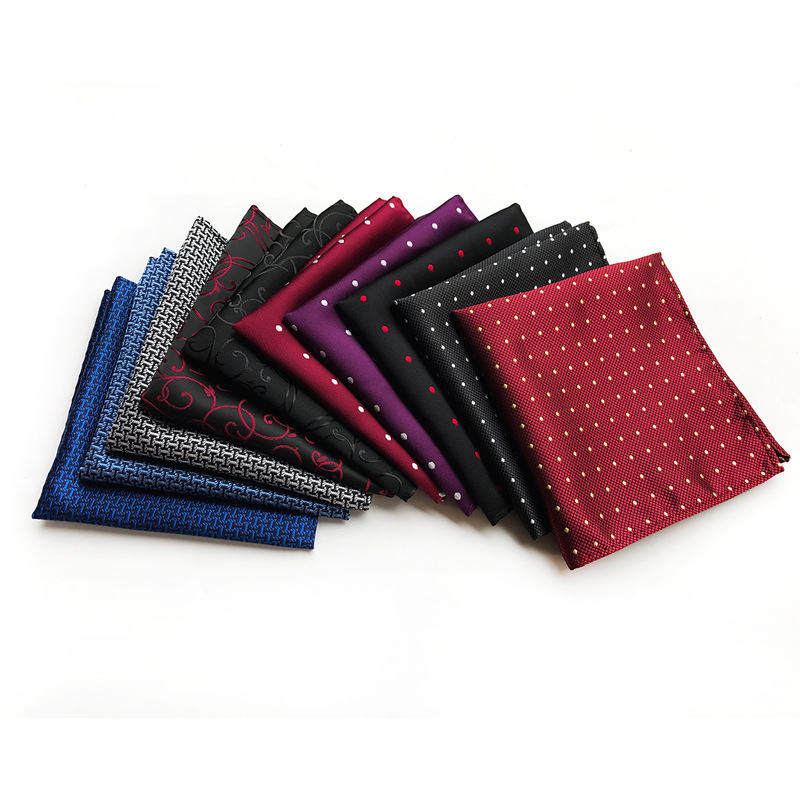 CityRaider Brand 2019 Red Wedding Sui Handkerchiefs Dot Print Men's Silk Hanky For Men Blue Pocket Squares Burgundy 25CM A117