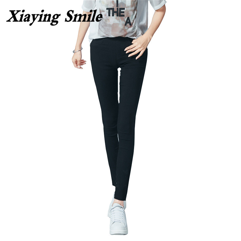 Xiaying Smile New Spring Summer All-Match Women Pencil Pants Jeans Female Casual Lift Buttocks Skinny Capris Full Length Pants all summer long